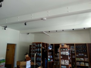 """The ceiling beam, which cracked in March 2015, was repaired via """"sistering"""" additional support to the beam. Photo credit: Haleakalā National Park."""