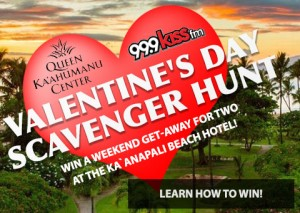 Queen Kaʻahumanu Center Valentine's Day Scavenger Hunt.  Click on image to learn how to win.