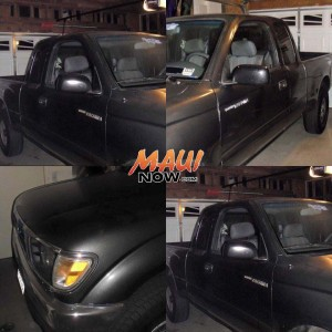 The owner of a dark grey 1995 Toyota pickup truck reports that the vehicle was stolen last night. The pickup was last seen at 10 p.m. on Thursday, Feb. 18, 2016, on S Alu Rd in Wailuku Heights. The License plate is: LBW862.