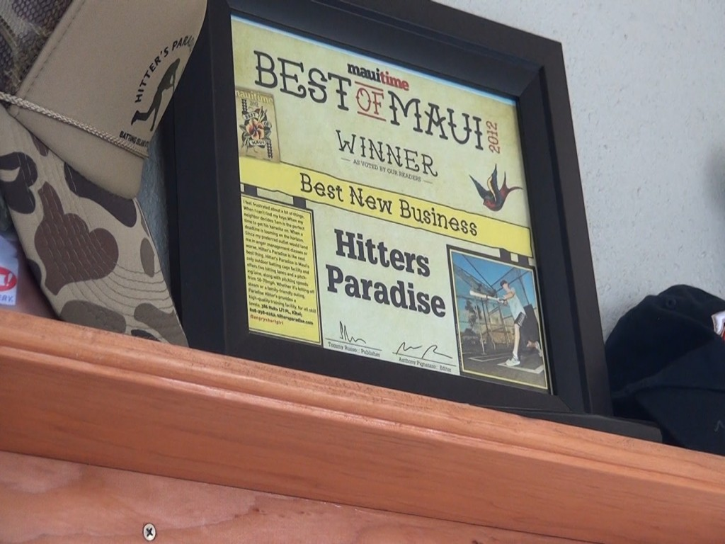 Award for Hitter's Paradise batting cages in Kīhei. Photo by Kiaora Bohlool.