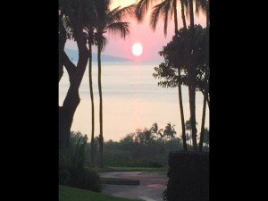 Sunset from Gannon's lanai in Wailea. Photo by Bret Pafford.