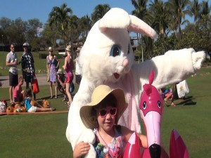 Easter bunny poses for pictures at at Mākena Beach & Golf Resort's huge Easter egg hunt. Photo by Kiaora Bohlool.