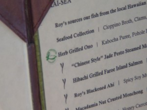 Localicious sticker next to the special dish in Roy's menu. Photo by Kiaora Bohlool.