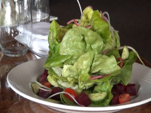 "Butter lettuce salad with local beets from Bev Gannon's ""secret garden"" upcountry. Photo by Kiaora Bohlool."
