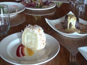 Coconut roulade and Joe's chocolate bread pudding, both on the menu at Gannon's. Photo by Kiaora Bohlool.