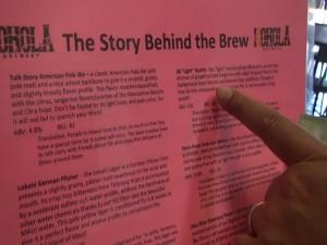 Beer menu with details on each brew at Koholā Brewery in Lahaina. Photo by Kiaora Bohlool.