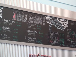 The beer board at Koholā Brewery in Lahaina. Photo by Kiaora Bohlool.