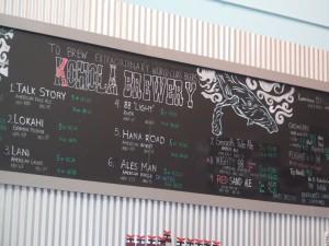 The beer board at Koholā Brewery in Lahaina. Photo by Kiaora Bohlool.