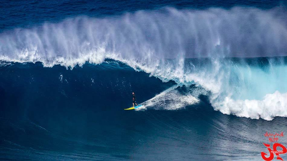 Billy standing tall on a JAWS monster Photo: Jimmy Hepp