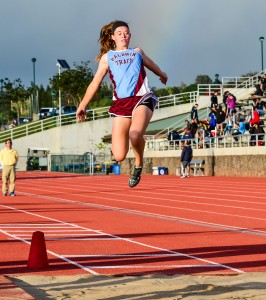 Baldwin's Kaitlin Smith won the girls long jump. Photo by Rodney S. Yap.