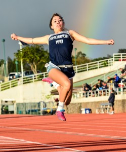Kamehameha Maui jumper Quinn Williams finished second in the girls long jump at 16 feet in her first meet of the season. Photo by Rodney S. Yap.