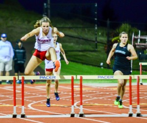 Seabury Hall's Makena Dougherty won the girls 300 hurdles and shot put on Friday. Photo by Rodney S. Yap.