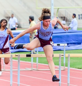 Baldwin's Kaitlin Smith set a new meet record in the girls 100 hurdles Saturday. Photo by Rodney S. Yap.