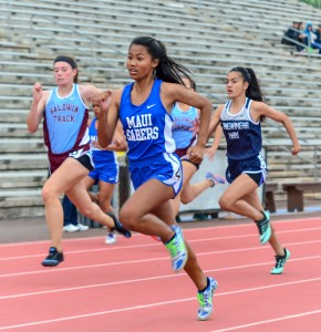 Maui High freshman Alyssa Mae Antolin pulls in front of the field in the girls 100-meter dash Saturday. Photo by Rodney S. Yap.