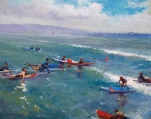 3 - 2016 MPAPI Makana Aloha Foundation Award HiuLaiChong 16x20 Catching a Wave Oil on Linen