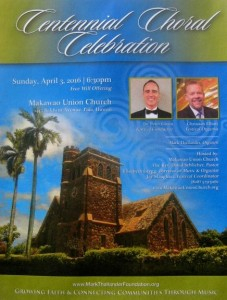 Makawao Union Church Centennial Choral Celebration event flyer.