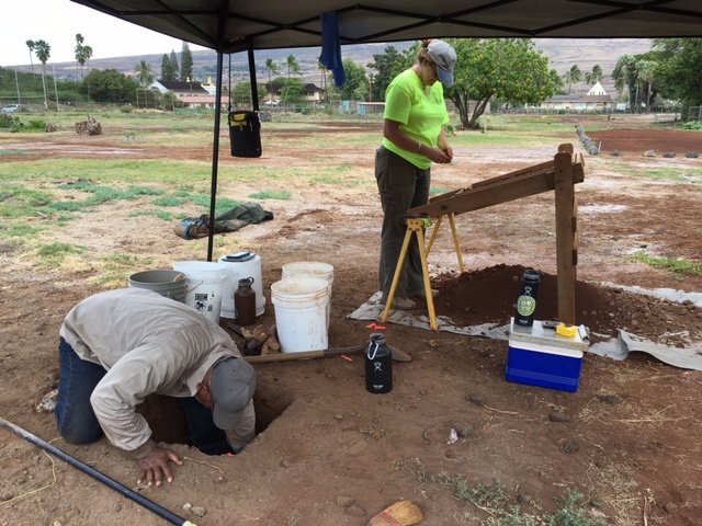 Archaeologists, Jonas Madeus, BA and Jennifer Frey, BA digging for pohaku and sifting fill. The archaeologists are now on site Monday - Friday between 8 a.m. and 4 p.m. Photo courtesy: Karee Carlucci via Friends of Mokuʻula. (3.21.16)