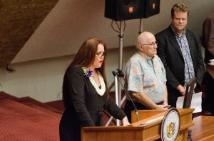 Amy Hanaialiʻi (left/foreground) at the State Capitol with House Speaker Joe Souki (middle) and State Rep. Angus McKelvey (right). Courtesy photo. (3.18.16)