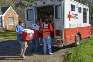 March 14, 2016. West Monroe, Louisiana. Red Cross volunteers from around the country are supporting flood relief efforts in Northeast Louisiana by delivering water, snacks and other supplies to neighborhoods that were affected. Photo by Daniel CIma/American Red Cross
