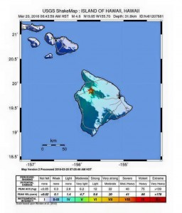 Big Island earthquake, 3.20.16. Map courtesy USGS.