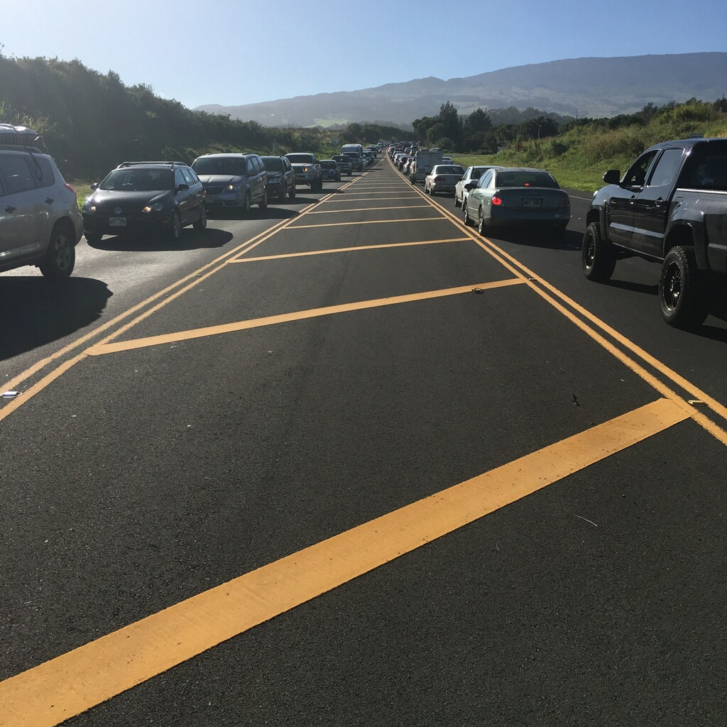 Haleakalā Highway. Traffic accident/Road closure, 3.30.16. Photo by Debra Lordan.