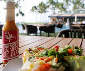 """""""Mangoes! Bumbye!,"""" a newly-launched hot sauce made in collaboration between Adoboloco and Andaz Maui. Courtesy photo."""