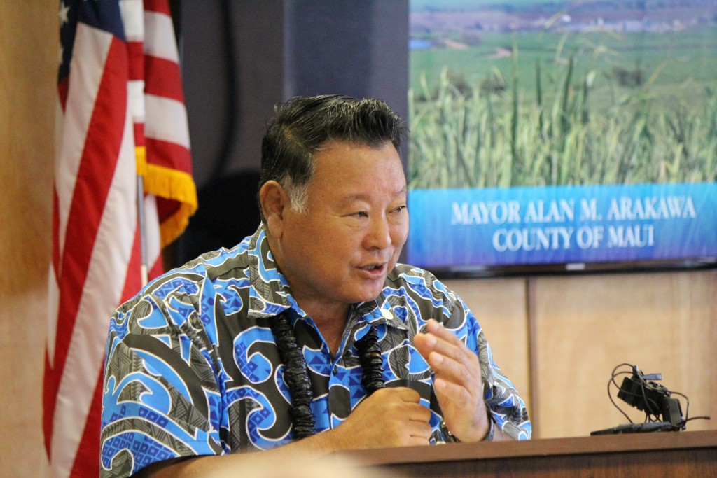 Maui Mayor Alan Arakawa presents his version of the 2017 Fiscal Year budget to the Maui County Council. Photo (3.24.16) by Wendy Osher.