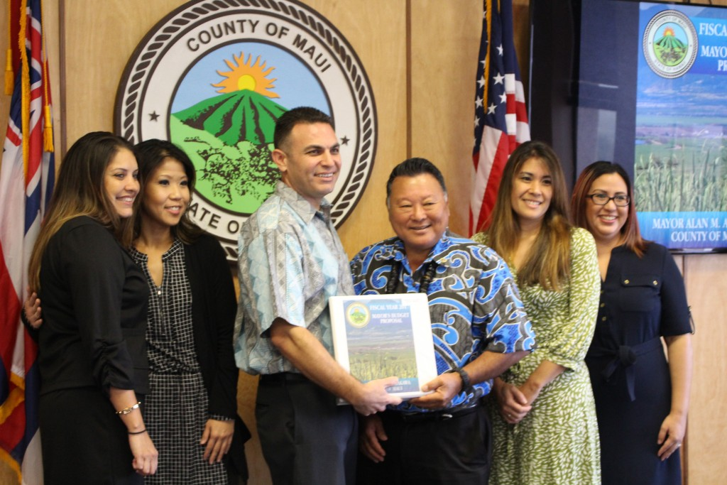 The Maui County budget team stands with Mayor Alan Arakawa as they present the Fiscal Year 2017 budget to the Maui County Council. Photo (3.24.16) by Wendy Osher.