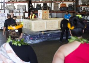 Historic Hawaiian artifacts arrive aboard Hawaiian Airlines flight. Photo courtesy: Hawaiian Airlines.