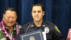 Officer Ryan Cabral. Maui Police Department, 6th Crisis Intervention Team graduation. Photo by Wendy Osher. (3/11/16)