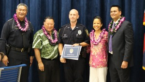 Officer Michael Keawekane-Hale. Maui Police Department, 6th Crisis Intervention Team graduation. Photo by Wendy Osher. (3/11/16)