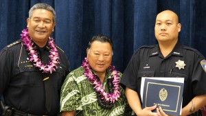 Aaron Rivera Maui Memorial Medical Center Molokini Ward Security. Maui Police Department, 6th Crisis Intervention Team graduation. Photo by Wendy Osher. (3/11/16)