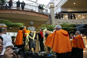 ʻAhahui Kaʻahumanu members celebrate the Queen's birthday with protocol assisted by the Royal Order of Kamehameha. Photo by Wendy Osher. (3.18.16)