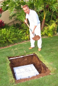 General Manager Jean Claude Wietzel performing the ceremonial first scoop Four Seasons Resort Maui, Time Capsule ceremony.) (2.29.16)