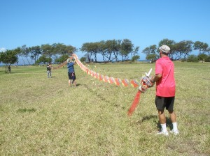 Robert Loera and volunteers setup a giant, 175-foot-long Chinese dragon kite for flight at Lahaina's Kite Festival flying day. Photo courtesy of Lahaina Restoration Foundation