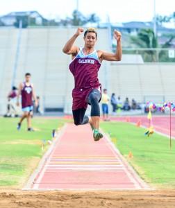 Baldwin's La'akea Kahoohanohano-Davis during the skip phase of his triple jump Friday at Yamamoto Track & Field Facility. Kahoohanohano-Davis set a new school record of 46 feet, 8 inches. Photo by Rodney S. Yap.