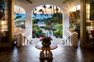 The lobby bar at Fairmont Kea Lani, Luana, during sunset in Wailea. Courtesy photo.