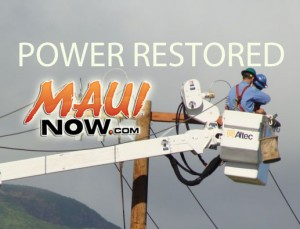 Power restored. File photo/graphics by Wendy Osher / Maui Now.