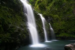 Waterfalls on the road to Hāna.  Photo courtesy of Joe Parks.