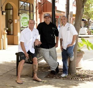 Three chefs taking part in the Chefs Collaboration Dinner to support Maui County Ag Fest: Michael Lofaro from Grand Wailea, Kyle Kawakami with Maui Fresh Streatery and Jojo Vasquez with The Plantation House Restaurant. Courtesy photo.