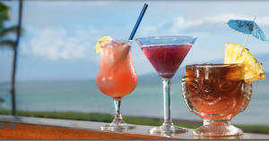 Tropical drinks at Leilani's restaurant at Whaler's Village in Kā'anapali. Photo courtesy of Leilani's.