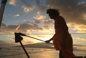 Sunset ceremony at Fleetwood's on Front Street in Lahaina. Photo courtesy of Fleetwood's.