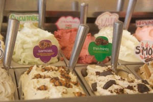 Via Gelato on O'ahu is offering two Girl Scout cookie-themed flavors: Thin Mint gelato and Samoas gelato. Courtesy photo.