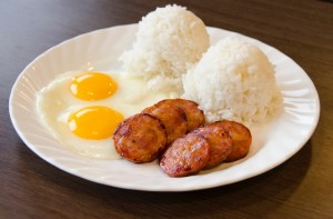 Portuguese sausage, eggs and rice at Zippy's. Photo courtesy of Hawai'i Agricultural Foundation.