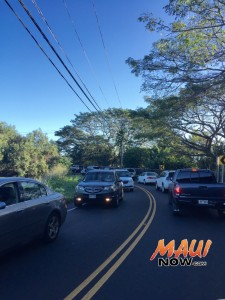 Heavy traffic is reported on alternate routes as well following the closure of Haleakalā Highway earlier this morning. Photo 3.30.16 by Tara Dugan.