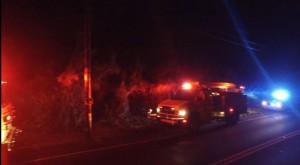 Drone footage of March 14, 2016 fire mauka of the Kahekili Highway in Wailuku burned four acres. Image: Maui 24/7.