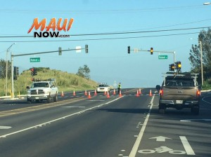 Haleakalā Highway. Traffic accident/Road closure, 3.30.16. Photo by Tara Dugan.