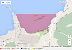 Honokahua Bay brown water advisory, 3/16/16. Image courtesy State of Hawaiʻi, Department of Health.