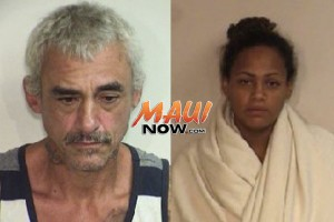 Michael Soto, 50, (left) and Sandra Kahikina, 24, (right), both of Kahului were charged with first degree robbery. Photos courtesy: Maui Police Department.