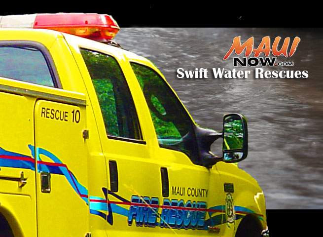 Swift water rescues. Graphic: Wendy Osher / Maui Now.